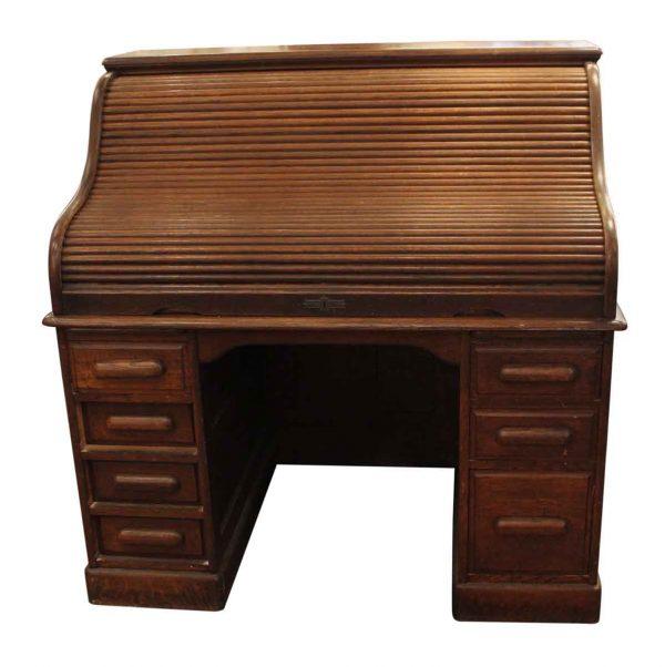 Office Furniture - Roll Top Antique Oak Wooden Desk