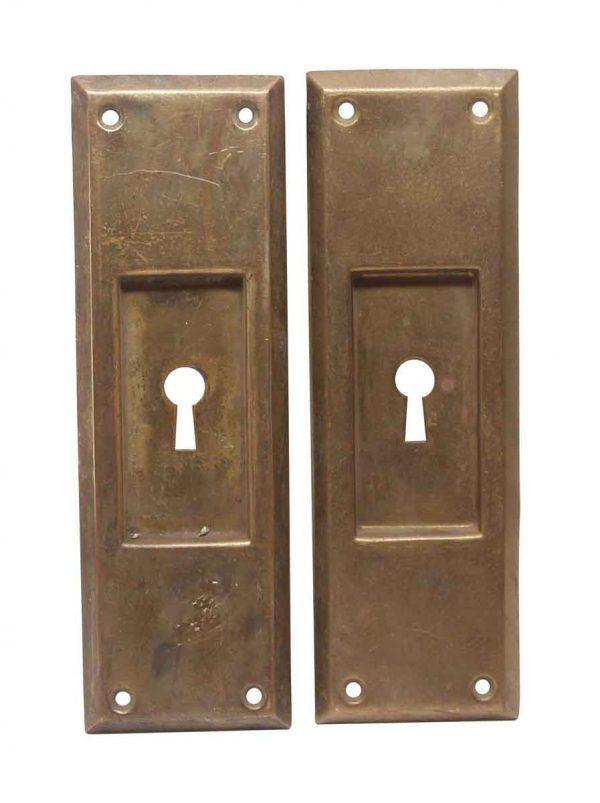 Pocket Door Hardware - Pair of Brass Classic Keyhole Pocket Door Plates