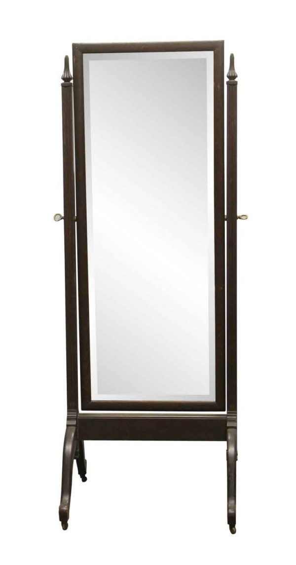 Antique Mirrors - Antique Wooden Cheval Beveled Dressing Mirror
