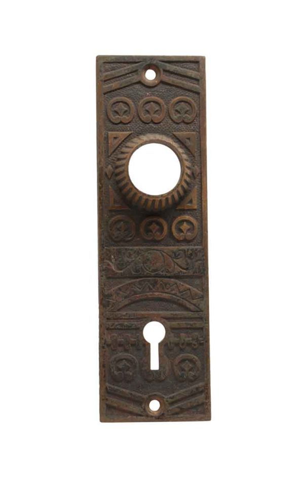 Back Plates - Antique Niles Chicago Bronze Keyhole Door Back Plate
