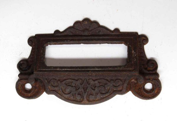 Cabinet & Furniture Pulls - Ornate Cast Iron Cabinet Pull with Label Holder