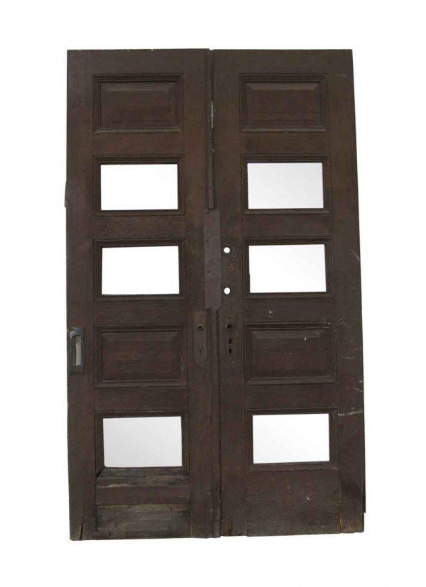 Commercial Doors - Antique 5 Panel Oak Double Doors 88.25 x 53