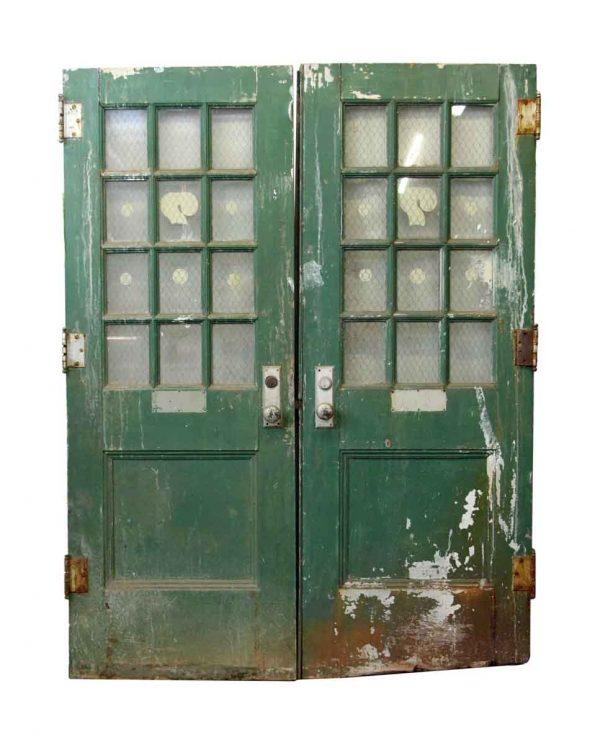 Commercial Doors - Pair of Metal Doors with Chicken Wire Glass  79.5 x 59.5