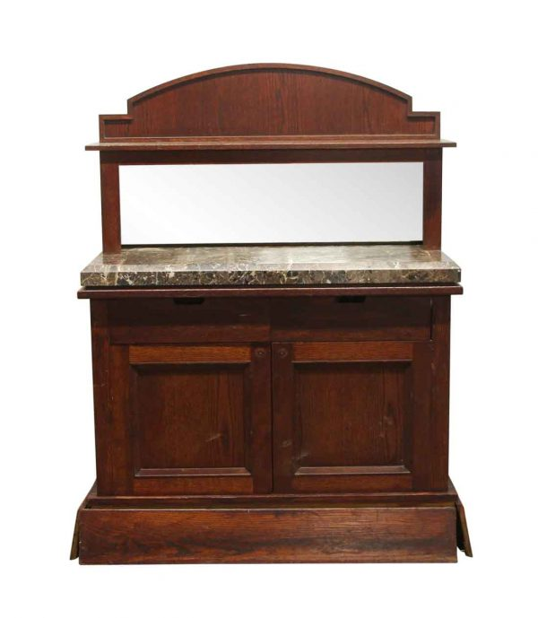 Commercial Furniture - Vintage Wood & Marble Buffet with Mirror