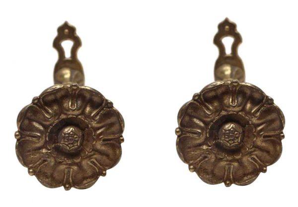 Curtain Hardware - Salvaged Waldorf Pair of Bronze Floral Tiebacks