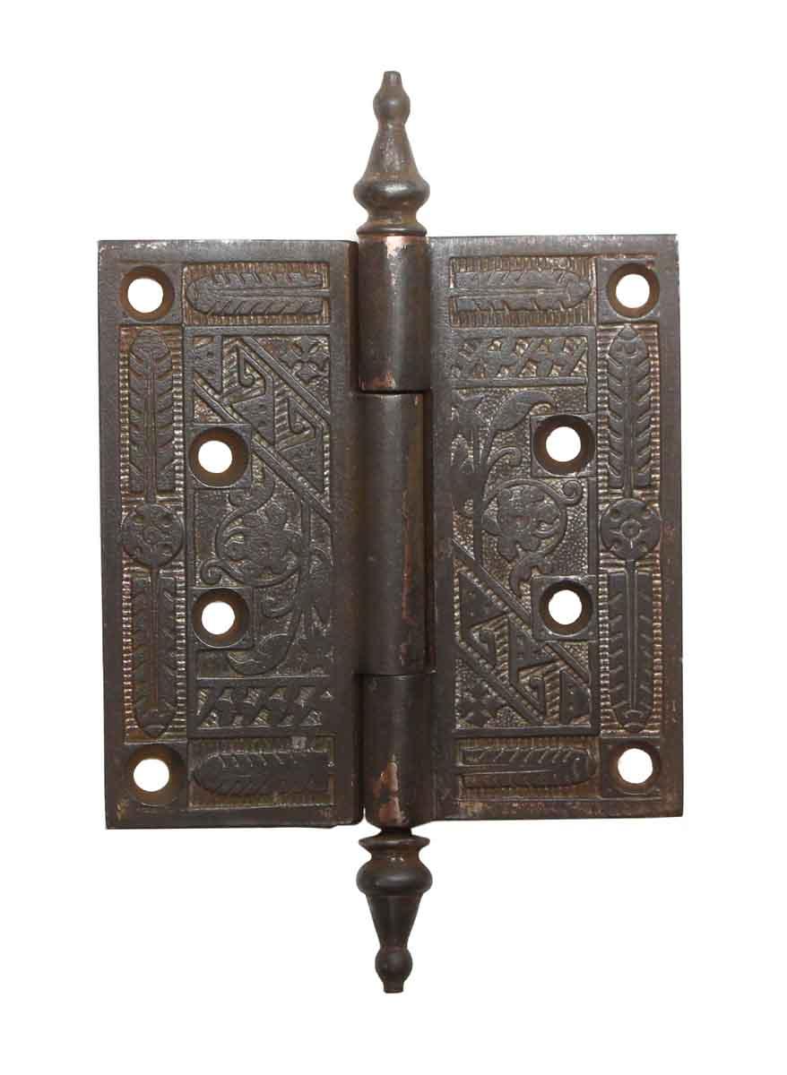 4.25 x 4.25 Cast Iron Aesthetic Antique Door Hinge   Olde