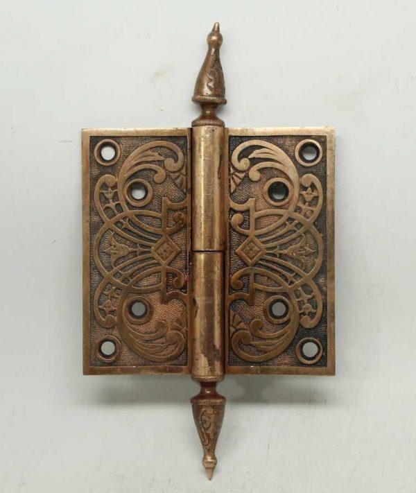 Door Hinges - 4.5 x 4.5 Bronze Steeple Tip Butt Antique Door Hinge