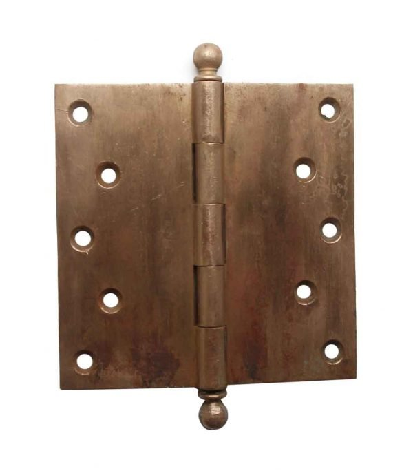 Door Hinges - Antique 5.5 x 5.5 Brass Ball Tip Butt Door Hinge