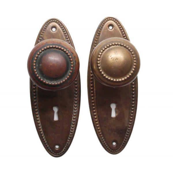 Door Knob Sets - Brass Beaded Door Knob Set with Back Plates