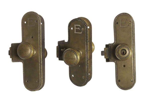 Door Knob Sets - Brass Entry Monolock Door Sets with E Emblem