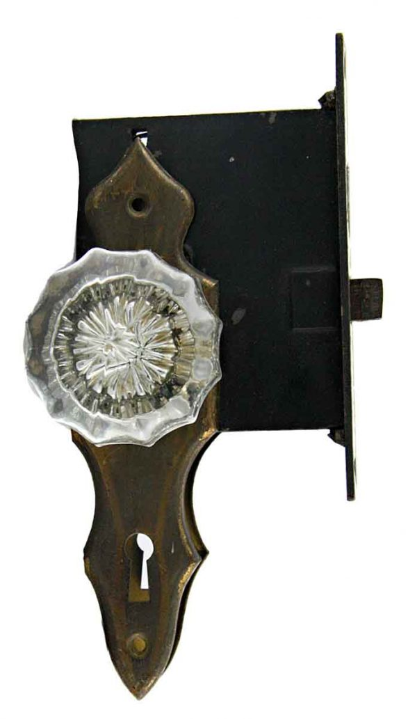 Door Knob Sets - Faceted Glass Door Knob Set with Mortise Lock