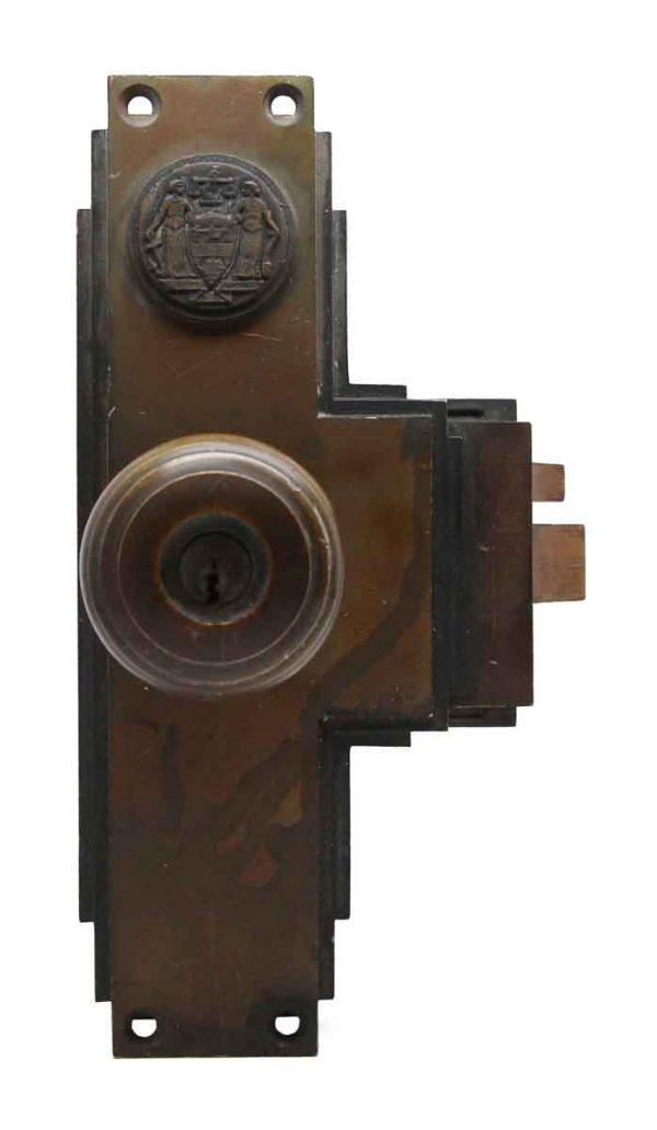 Door Knob Sets - Philadelphia Civic Center Art Deco Bronze Monolock Door Knob Set