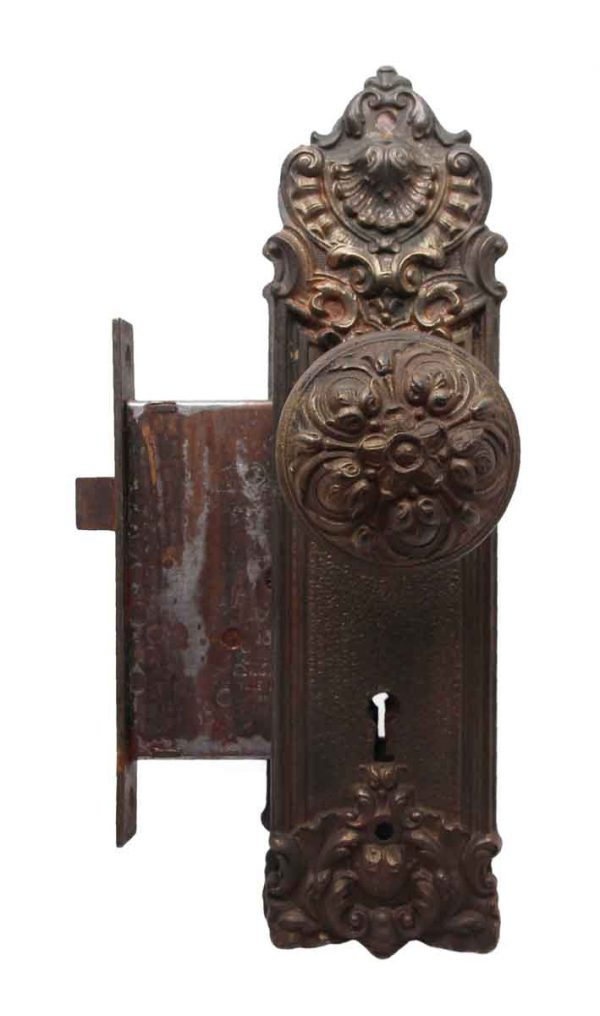 Door Knob Sets - Victorian Yale & Towne Cast Iron Pasco Door Knob Set with Mortise Lock