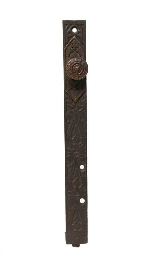 Door Locks - Antique Cast Iron Floor Door Bolt with Brass Knob
