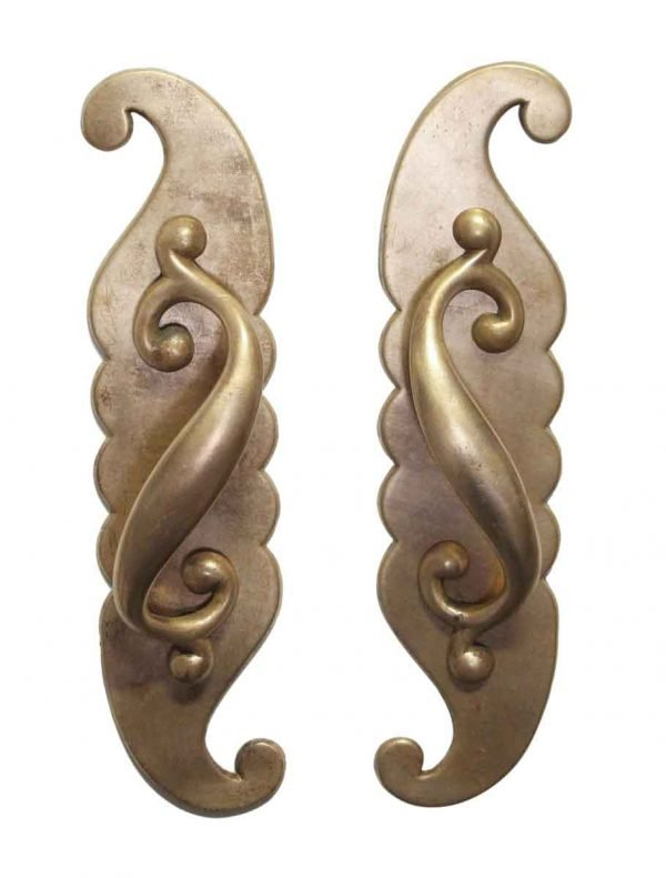 Door Pulls - Pair of Art Nouveau Bronze Left & Right Door Pulls