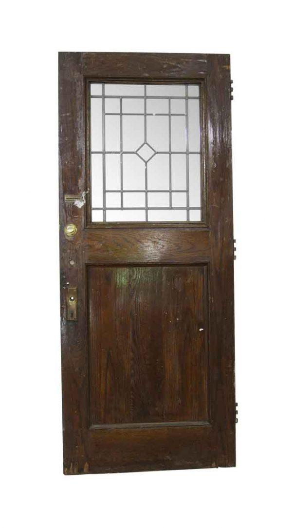 Entry Doors - Antique 1 Leaded Lite Oak Entry Door 87.125 x 36