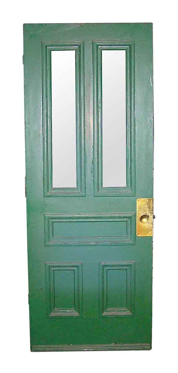 Entry Doors - Antique Entry Door with Two Glass Panels 78 x 29.875