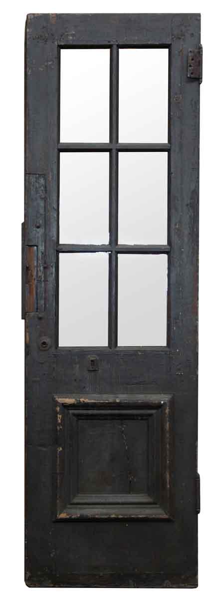 Entry Doors - Antique Six Glass Panel Wood Entry Door 82 x 25