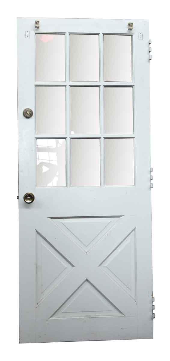 Entry Doors - Antique Wood Door with 9 Glass Panels 75.5 x 31.375