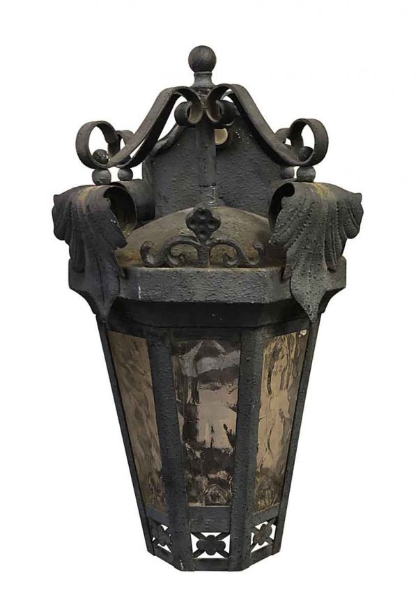 Exterior Lighting - Antique Exterior Iron 14 in. Wall Sconce with Foliage Detail