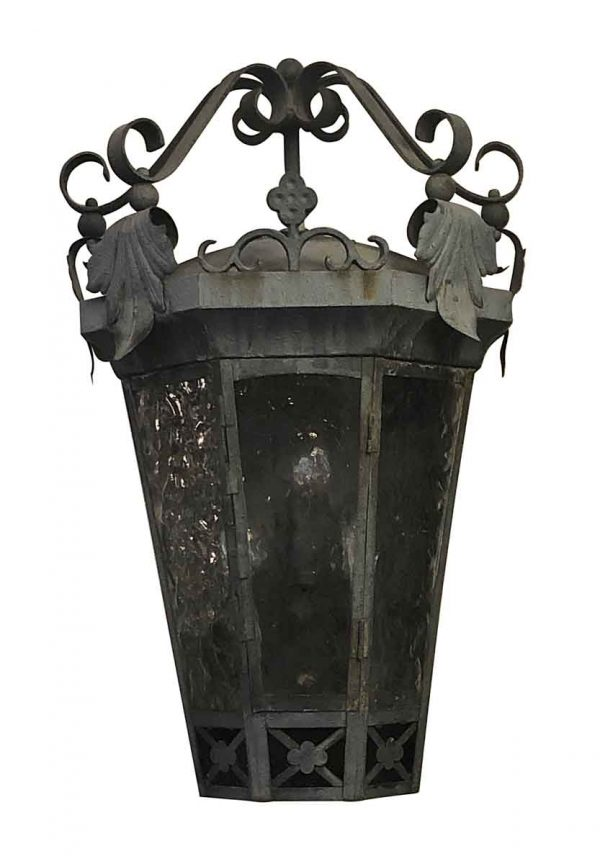 Exterior Lighting - Antique Exterior Iron 23 in. Wall Sconce with Foliage Detail
