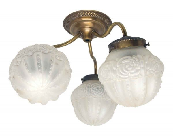 Flush & Semi Flush Mounts - Floral Ceiling Fixture with Three Glass Shades