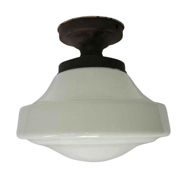 Flush & Semi Flush Mounts - White Milk Glass Flush Mount Light Fixture