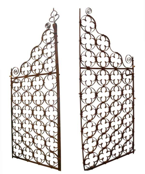 Gates - Antique Quatrefoil Pair of Forged Iron Gates