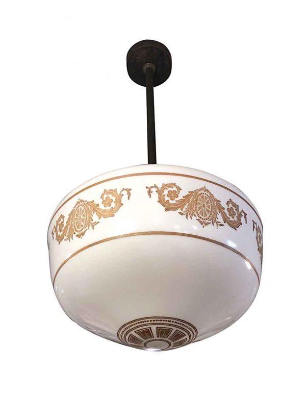 Globes - Vintage Stenciled Milk Glass Globe Pendant Light
