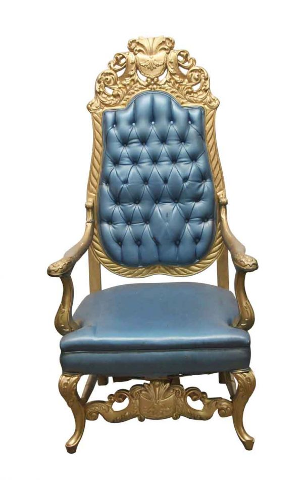 Living Room - Antique Blue & Gold Wood Frame Throne Chair