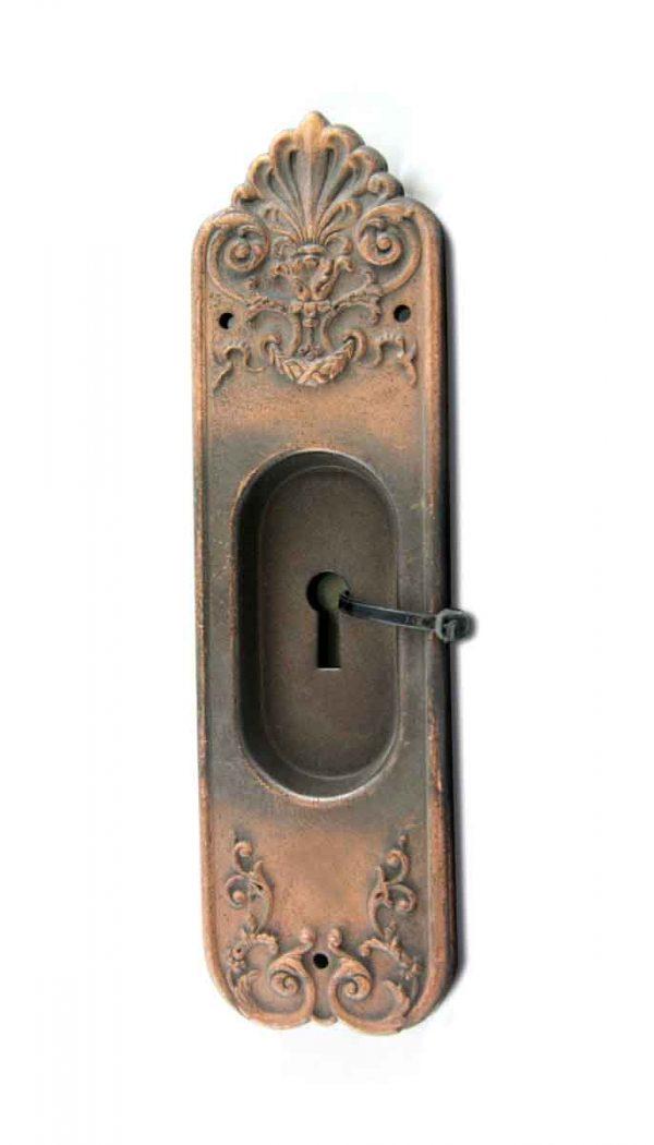 Pocket Door Hardware - Victorian Style Pressed Brass Pocket Door Plate