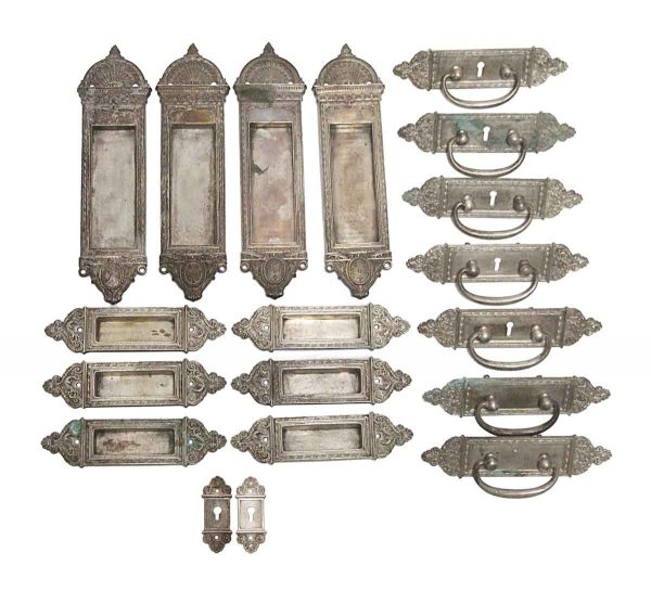 Pocket Door Hardware - Yale & Towne Silvered Brass Hardware Set