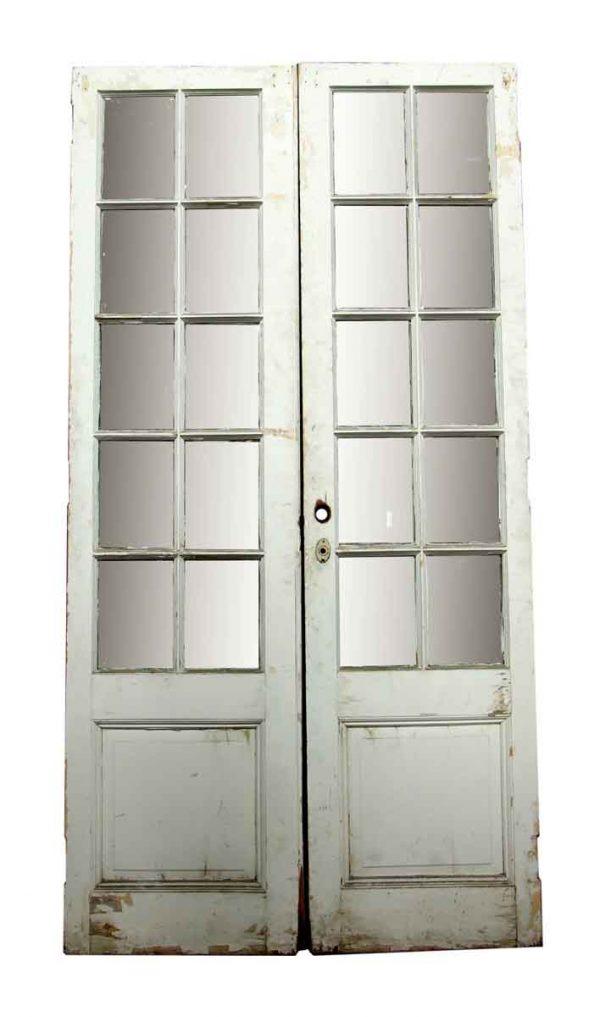 Pocket Doors - White Pocket Wood Double Doors 87.25 x 45.125