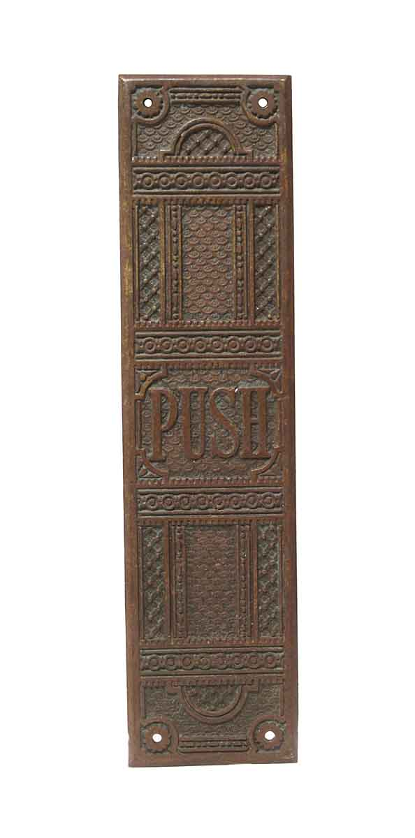 Push Plates - Antique Bronze Field Pattern Door Push Plate