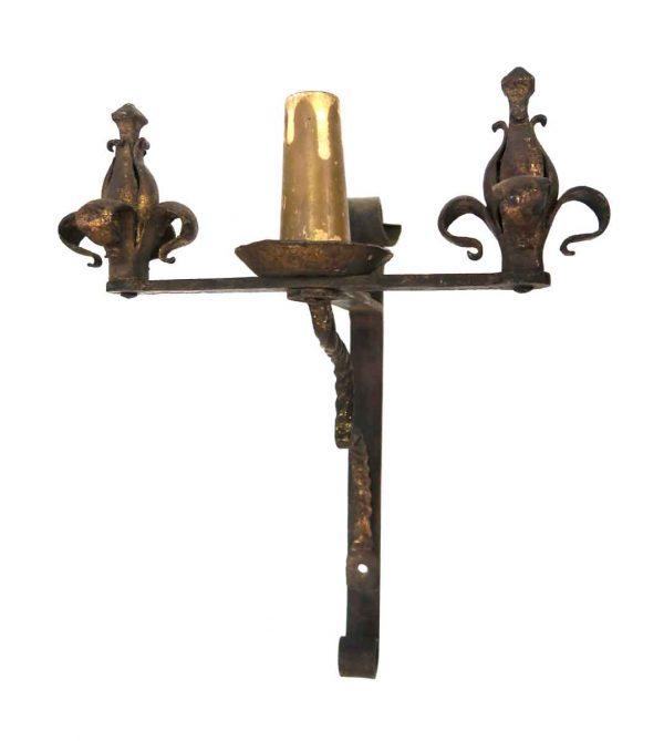 Sconces & Wall Lighting - Antique Art Nouveau Brown Iron Sconce