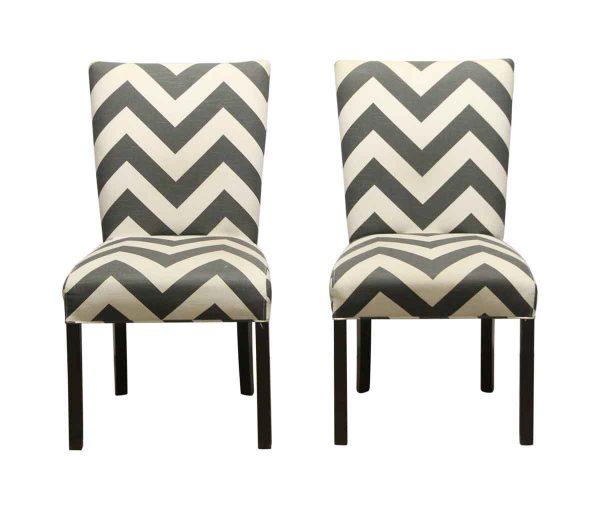 Seating - Pair of Gray & White Chevron Chairs