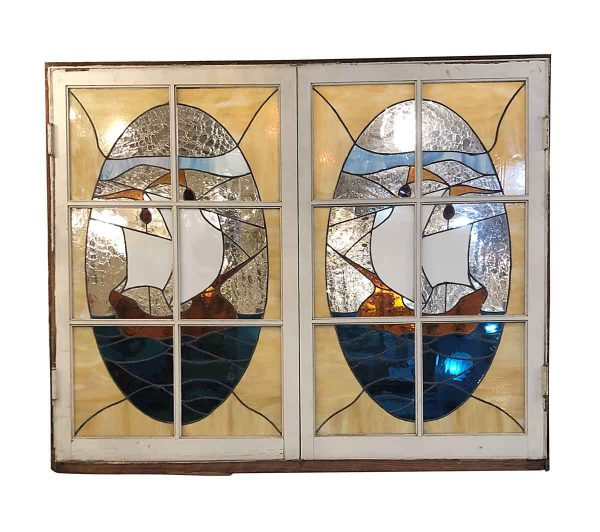 Stained Glass - Pair of Antique Sailboat Stained Glass 61 x 49.5 Hinged Windows