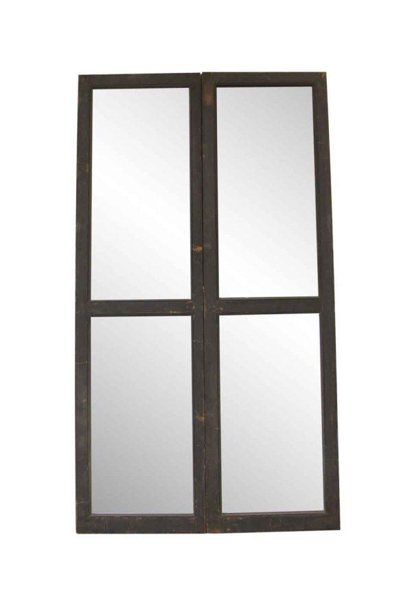 Standard Doors - Antique Double 2 Lite Pine Frame Doors 98 x 54.625