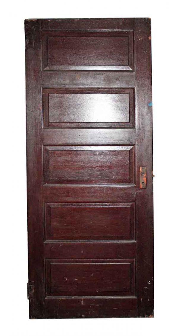 Standard Doors - Antique Five Panel Dark Wood Interior Door 75 x 32