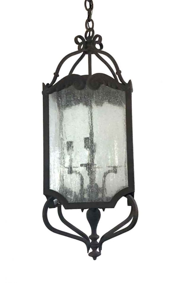 Wall & Ceiling Lanterns - Black Iron Lantern with Seeded Glass