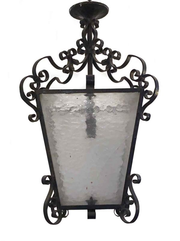 Wall & Ceiling Lanterns - Wrought Iron Lantern with Hammered Glass
