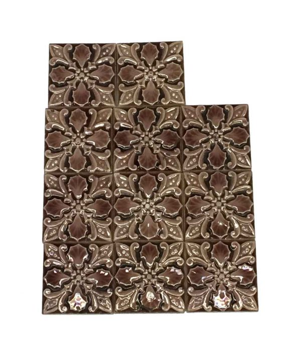 Wall Tiles - 3 x 3 Pink Floral Accent Tile Set