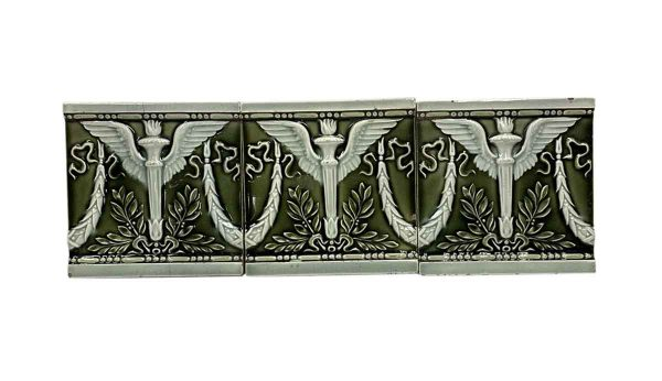 Wall Tiles - 6 x 6 Helman Green Winged Torch Tile Set