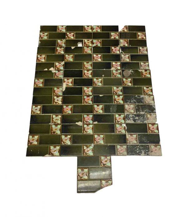 Wall Tiles - Antique Green Floral Quadrant Tile Set