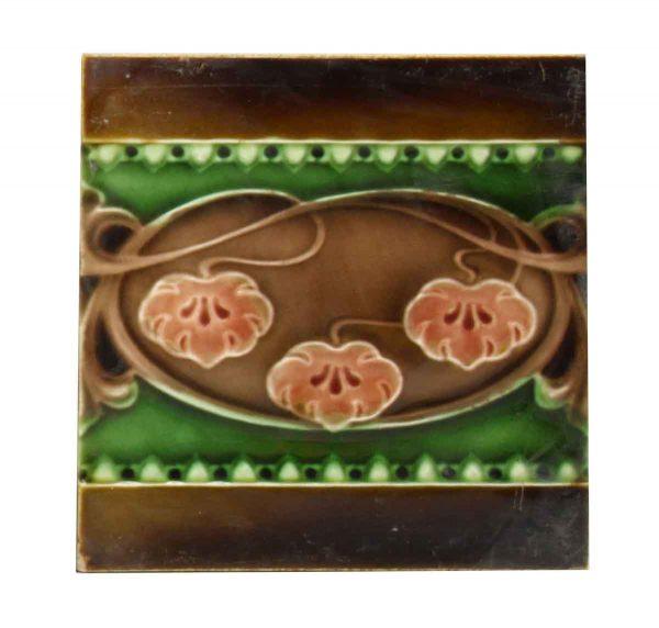 Wall Tiles - Antique Majolica Art Nouveau Fireplace Tile