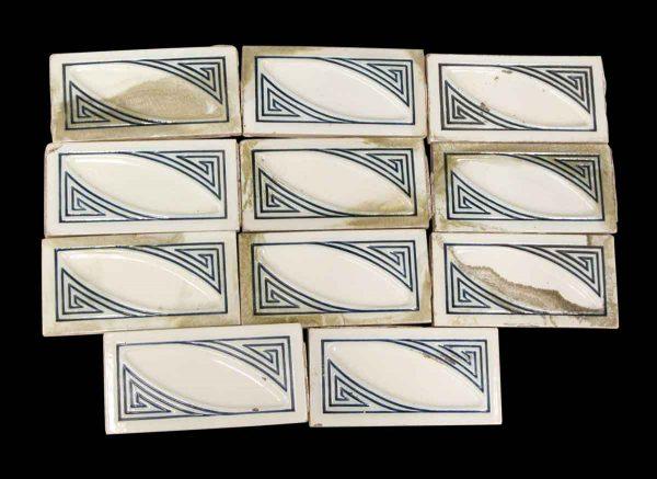 Wall Tiles - Art Deco White & Blue Border Tile Set