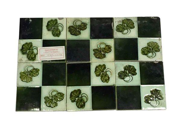 Wall Tiles - Majolica English Green Quadrant Tile Set