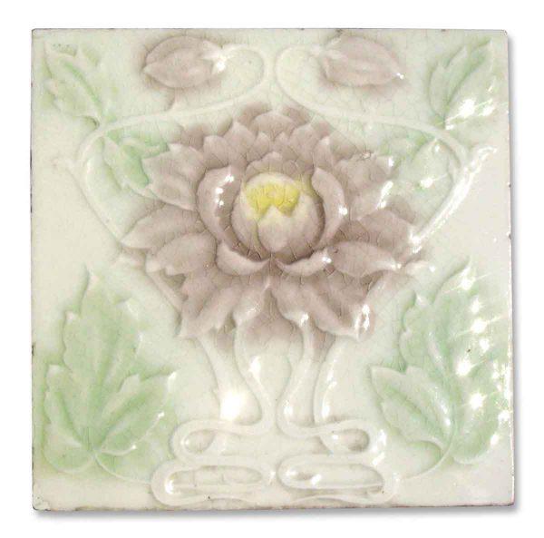 Wall Tiles - Pastel Pink Floral Art Nouveau Tile