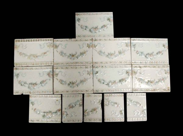 Wall Tiles - White Tile Lot with Blue Green & Pink Floral Pattern