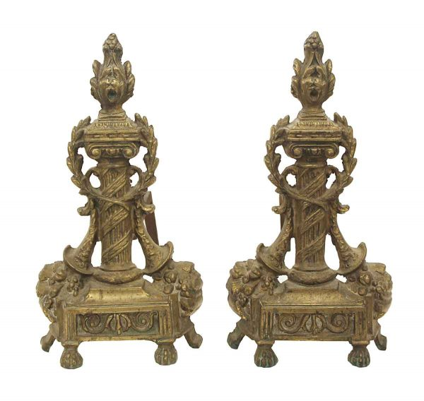 Andirons - Pair of French Bronze Torch Andirons
